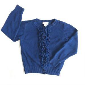Children's Place Navy Ruffle Cardigan Sweater 4T